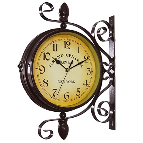 wooch Wrought Iron Antique-Look Brown Round Wall Hanging Double Sided Two Faces Retro Station Clock Round Chandelier Wall Hanging Clock with Scroll Wall Side Mount Home D cor Wall Clock 8-inch