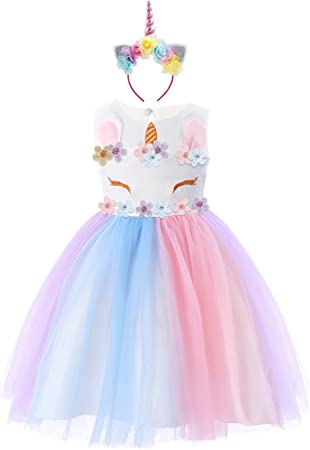 🦄 VESTIDO LINDO: Hermoso traje de fiesta unicornio para niñas, decorado con lindos apliques de unic