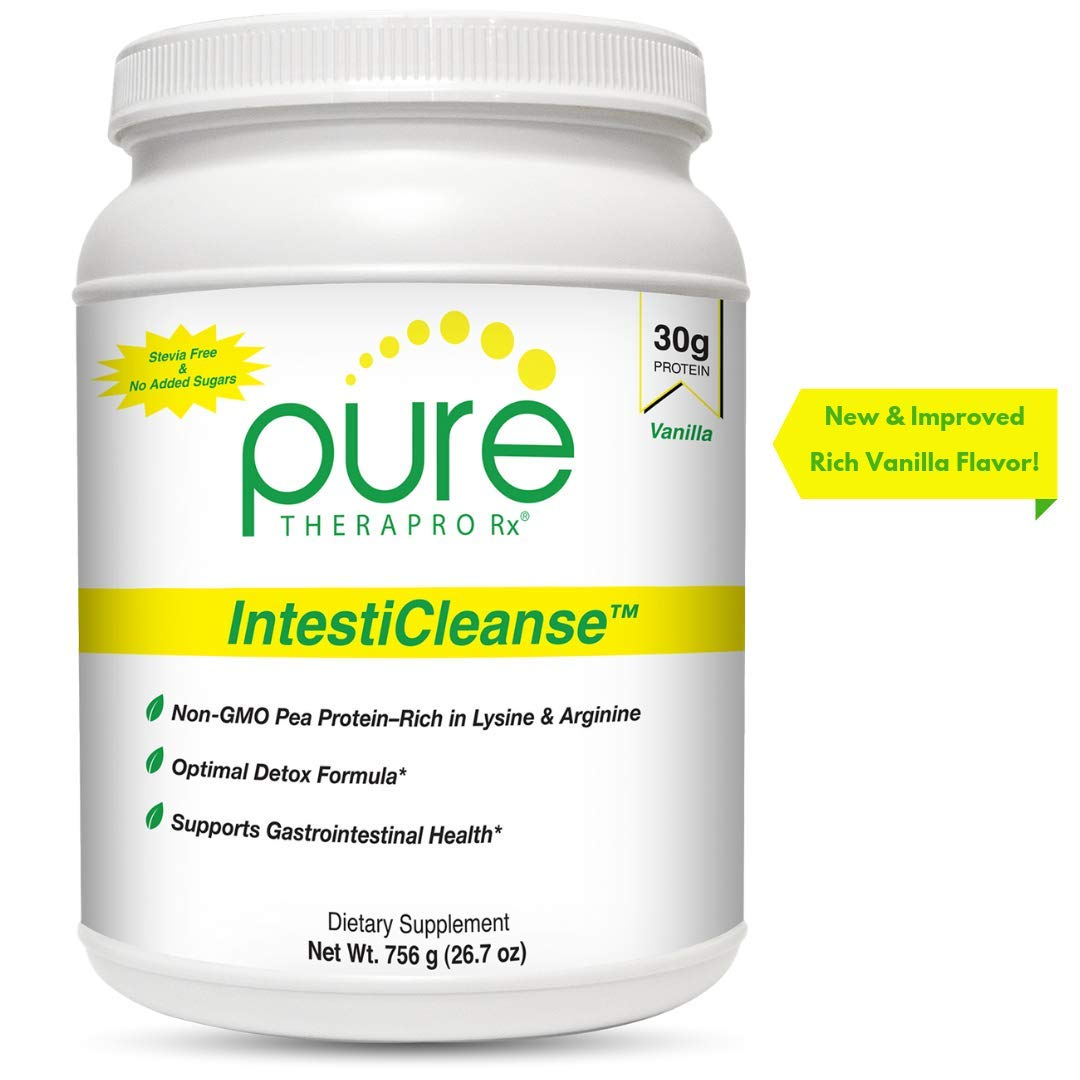 IntestiCleanse''Vanilla'' - 30g of Pure Vegan Protein, a Non-GMO Pea Protein Blend Sweetened with Monk Fruit | Features Aminogen® & Quatrefolic® | Gastrointestinal, Liver and Digestive Support