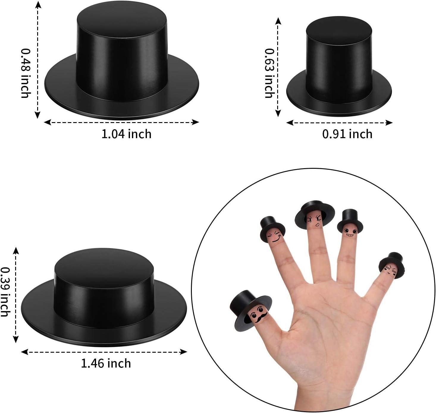 60 Pieces 3 Size Mini Black Top Hats Miniature Snowman Hats Top Hats Plastic for Crafts DIY Decoration Party Supplies