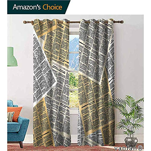 LQQBSTORAGE Old Newspaper Decor,Blackout Curtains for Bedroom,Pages of Old Journals Magazines Columns Information Print, Printed Window Curtains,Light Brown White Black