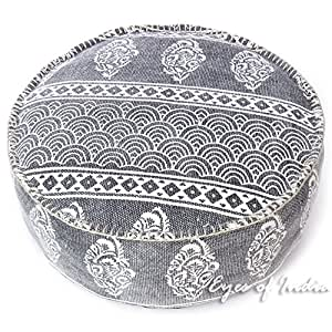 "EYES OF INDIA - 24 X 8"" Black Gray Grey Dhurrie Round Pouf Pouffe Ottoman Cover Floor Seating Bohemian Boho Indian"