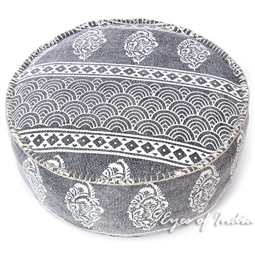 Eyes of India - 24 X 8 Black Gray Grey Dhurrie Round Pouf Pouffe Ottoman Cover Floor Seating Bohemian Boho Indian