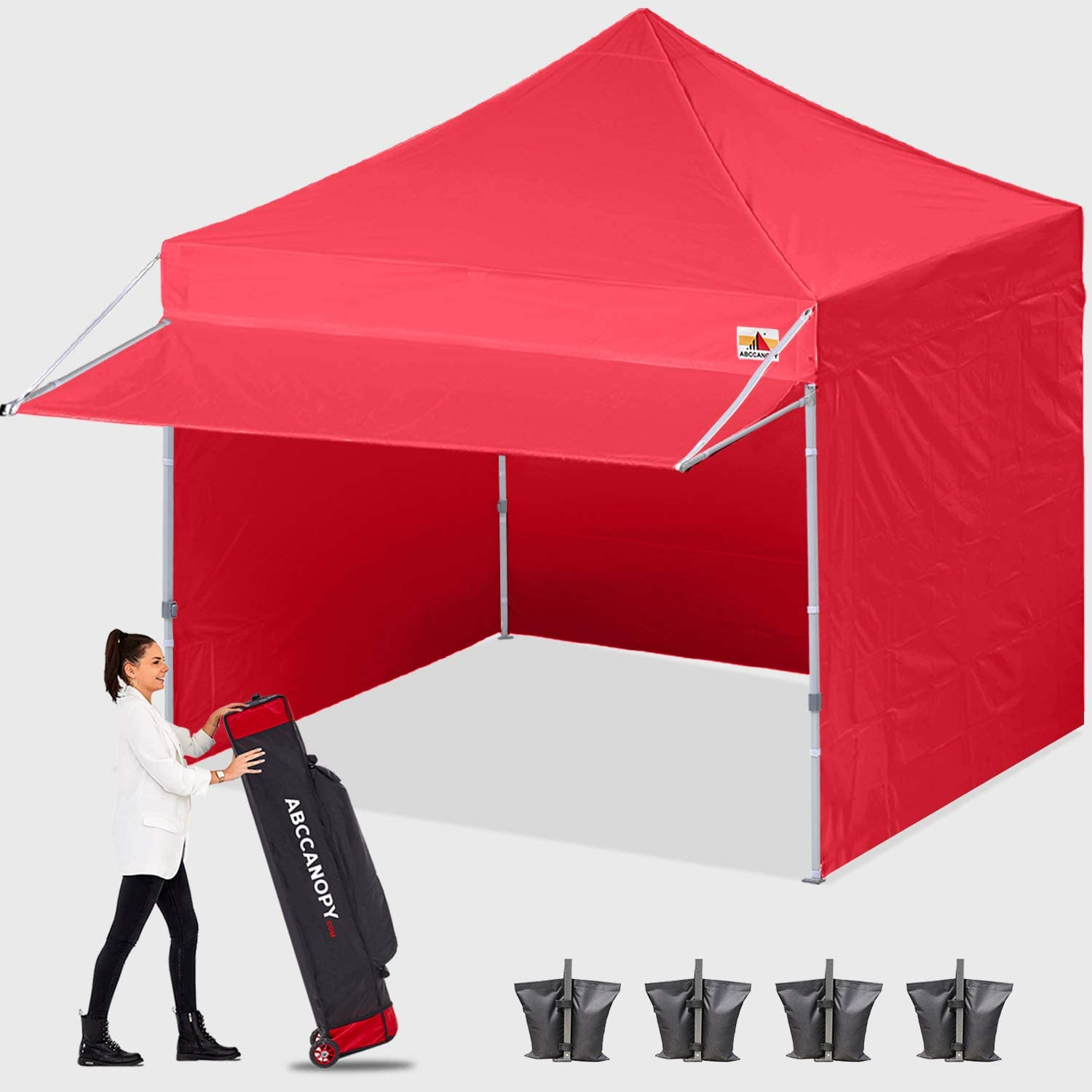 ABCCANOPY Ez Pop up Canopy Tent with Awning and Sidewalls 10x10 Market -Series, Red