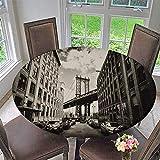 kitchen 67 brunch PINAFORE HOME Round Tablecloth Manhattan Bridge seen from a Brick Builds in Brooklyn Street for Kitchen 67