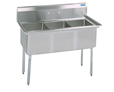 BK Resources Stainless Steel 3 Compartment Sink, ...