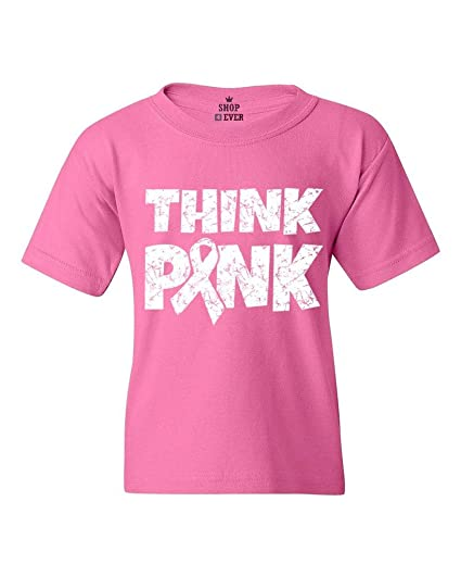 496be86d2 Shop4Ever Think Pink Youth s T-Shirt Breast Cancer Awareness Shirts Youth  X-Small Azalea