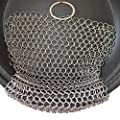 Cast Iron Cleaner Chainmail Brush 316 Stainless Steel Scrubber, Laxhand Cookware Scraper for Pressure Cooker, Dutch Ovens, Skillets, Teakettles, Grill Pans, Pot Racks, Waffle Maker, Griddles 86 inch