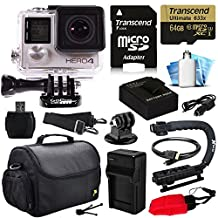 GoPro Hero 4 HERO4 Silver Edition 4K Action Camera Camcorder with 64GB MicroSD Card, Battery, Charger, Large Case, Stabilizer Handle Grip, HDMI, MicroSD Reader, Dust Cleaning Care Kit