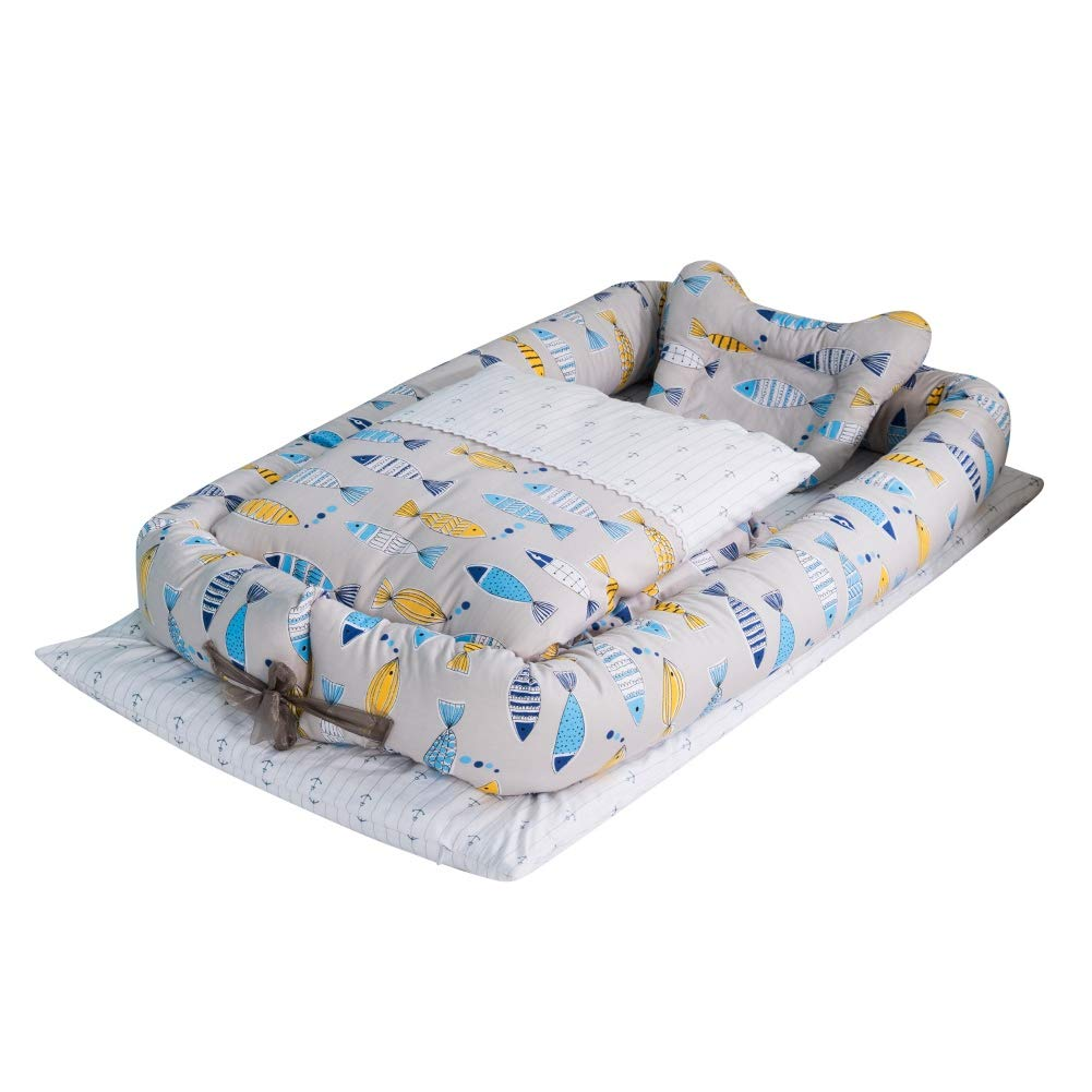 Weixinbuy Baby Bassinet for Bed Cotton Soft Breathable Baby Lounger for Newborn Toddler Infant Portable Crib Bassinet Sleeper Bed Baby Nest for Bedroom Travel Camping