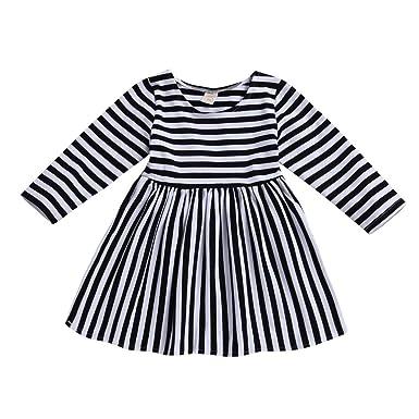 73a58371 Cenhope Infant Baby Girls Striped Half Sleeve Dress (Black, 80/6-12Months
