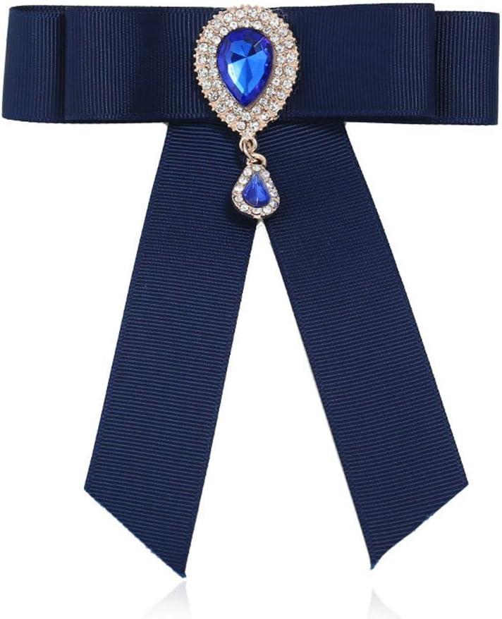 Nikgic - Broche de lazo con incrustaciones de piedras preciosas de cristal, accesorio para blusa femenina, broche de lazo, azul, 14*11.5cm