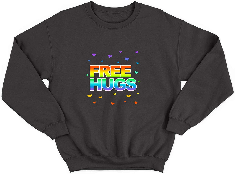 Free Hugs Rainbow Colours Gay Love/_005704 Ugly Christmas Sweater Crewneck Sweatshirt Gift for Him Her