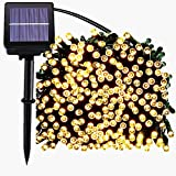 200 LED Solar String Lights, Waterproof Outdoor Fairy lighting for Christmas, Home, Garden, Yard, Patio, Porch, Tree, Party, Holiday Decoration - Warm White, 72FT, 8-in-1 Mode