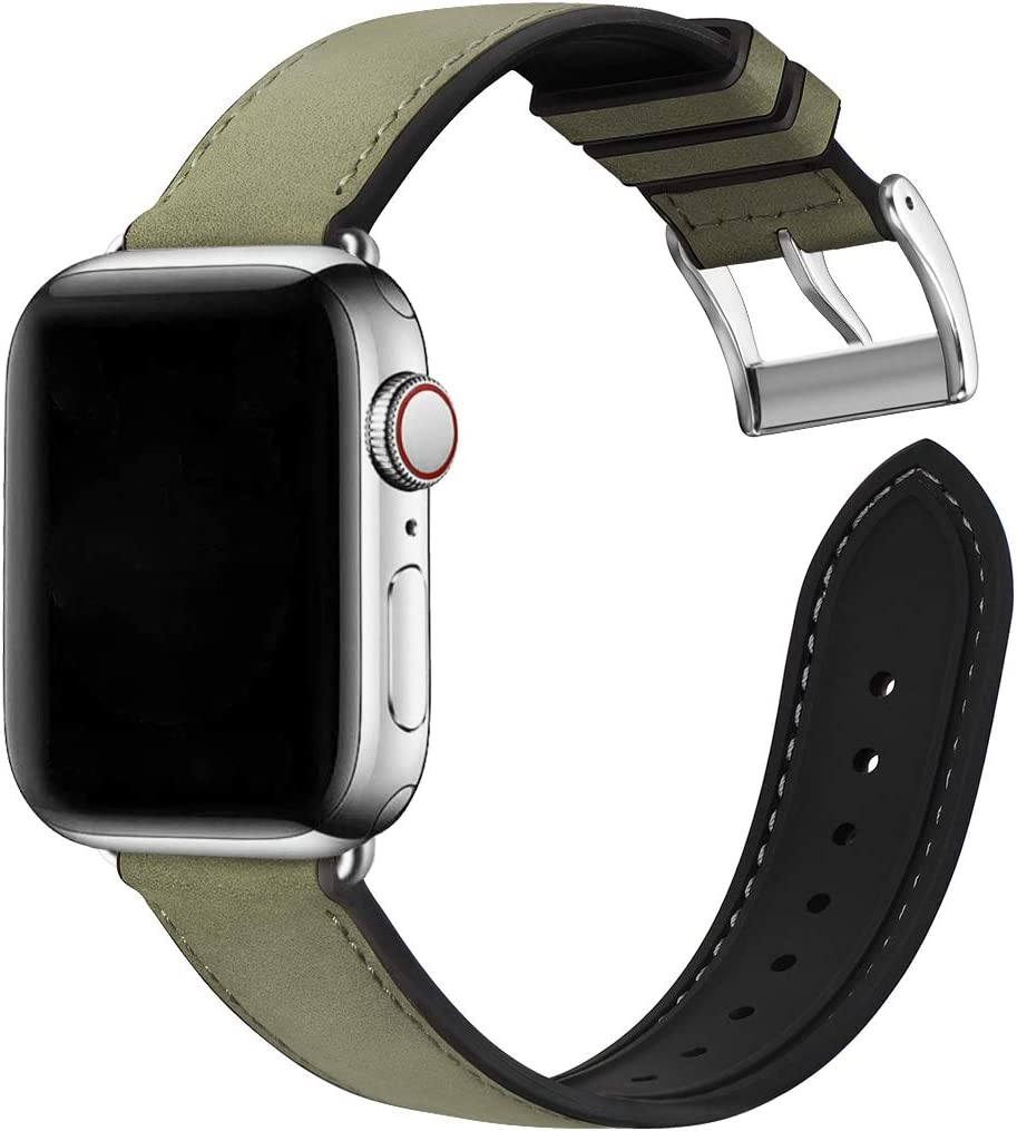 Bestig Compatible with Apple Watch Bands,Waterproof Genuine Leather and Silicone Hybrid Strap for iwach SE Series 6 5 4 3 2 1,Sports Edition (Army Green Band+Silver Connector,42mm 44mm)[Upgraded]