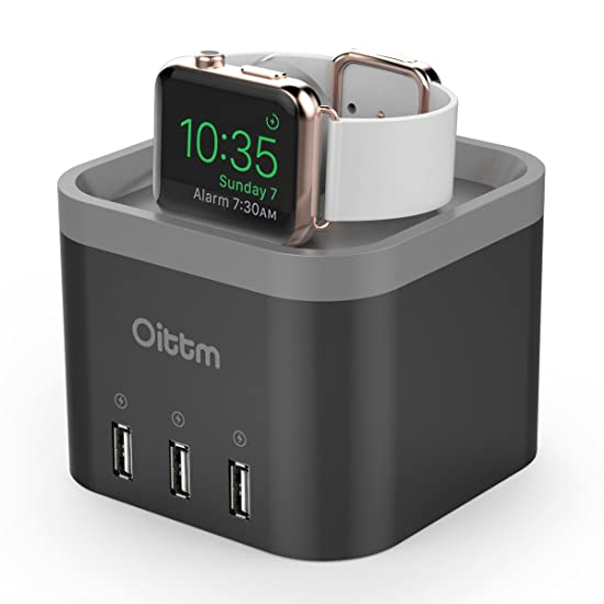 apple usb charger. oittm charging dock station for apple watch, 4-ports usb hub desktop smart stand wall charger iphone, ipad, samsung and more usb r