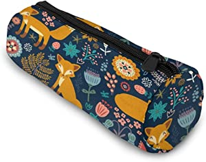 Cartoon Fox Pencil Case Bag Storage Pouch Simple Stationery Bag Holder for Middle High School Office College Student