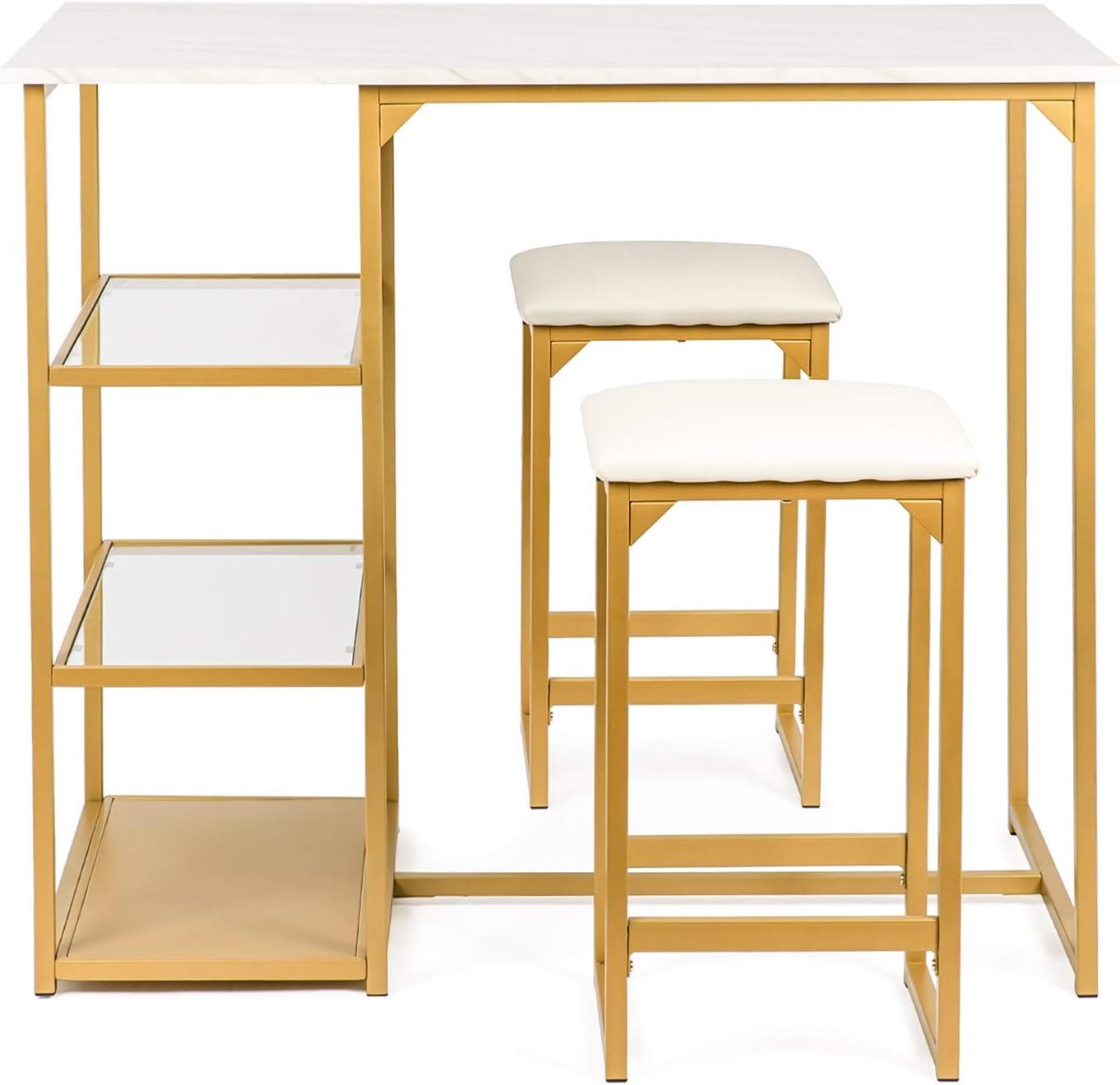 BAHOM 3 Piece Bar Table Set, Bistro Restaurant Dining Table Set with 2 Bar Stools for Home, Kitchen, Bar – Golden