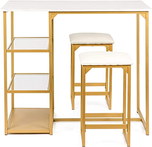 BAHOM 3 Piece Bar Table Set, Bistro Restaurant Dining Table Set with 2 Bar Stools for Home, Kitchen, Bar - Golden