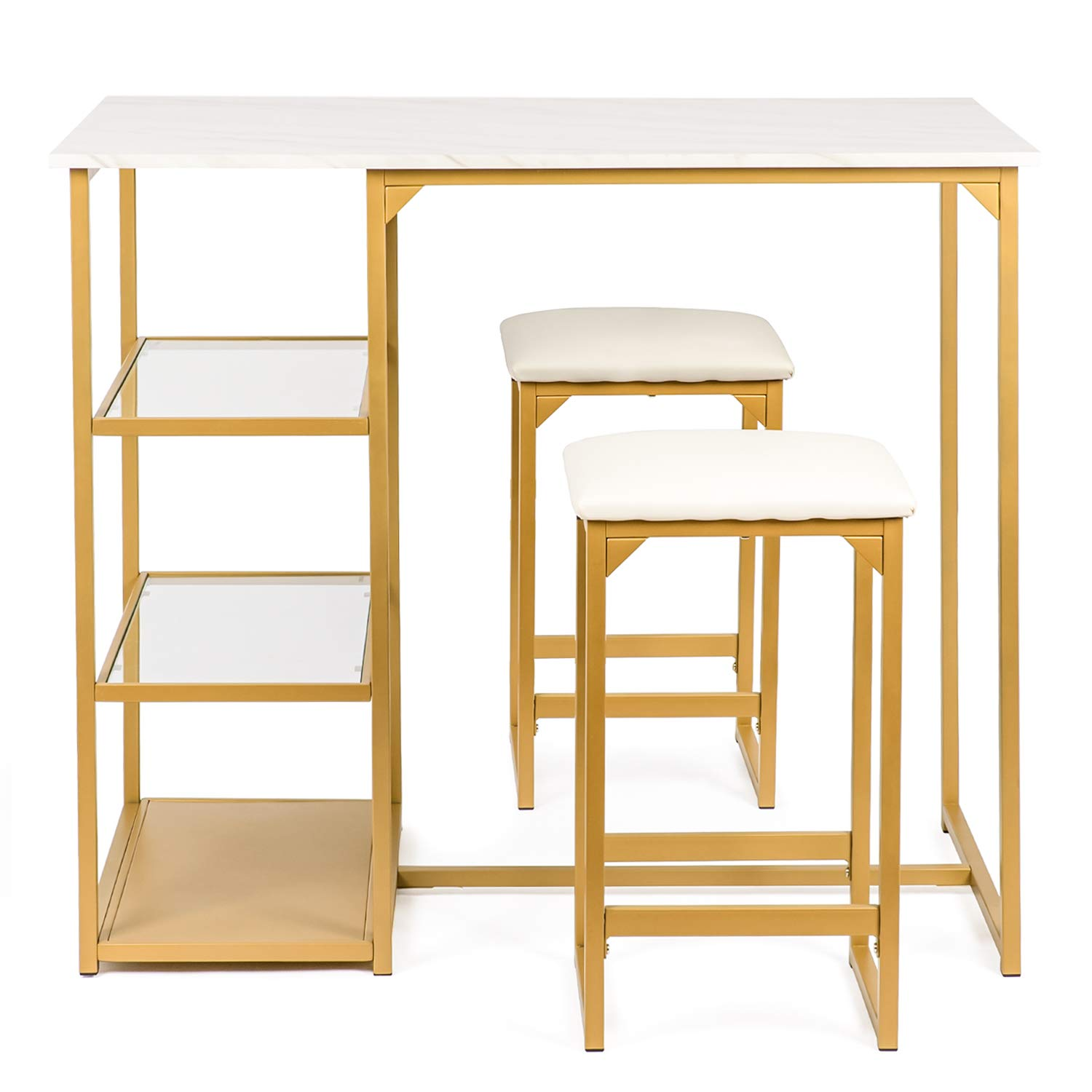 BAHOM 3 Piece Bar Table Set, Bistro Restaurant Dining Table Set with 2 Bar Stools for Home, Kitchen, Bar - Golden by BAHOM