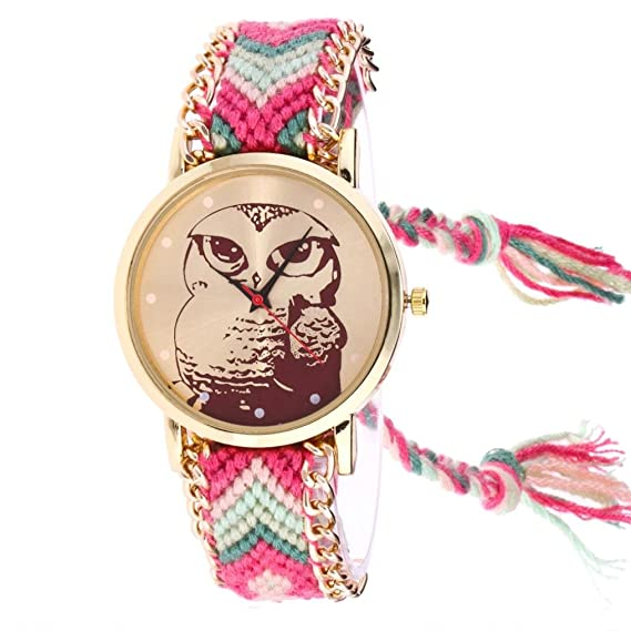 Las mujeres Casual relojes, SINMA Simple búho patrón de punto ...