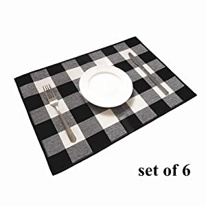 Ukeler Placemats Set of 6 - Buffalo Check Plaid Placemats 100% Cotton Crossweave Plaid Woven Placemats Washable Decorative Heat Insulation Kitchen Table Mats, Black and White