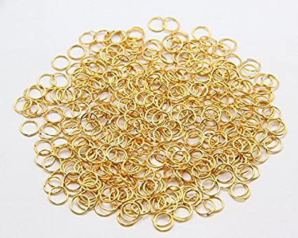 Grosun 500Pcs 10mm Gold Open Jump Rings Open Connectors Circle Metal Findings