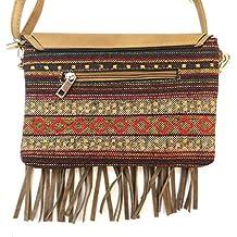 Corona Collection Fringed Crossbody Handbag with Southwest Design
