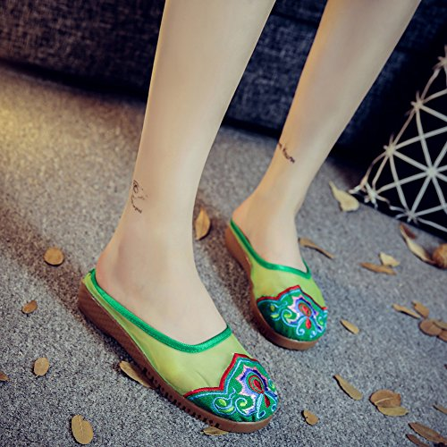 Organza De Bordado Para Mujer Avacostume Shoe-pad See Through Slipper Green