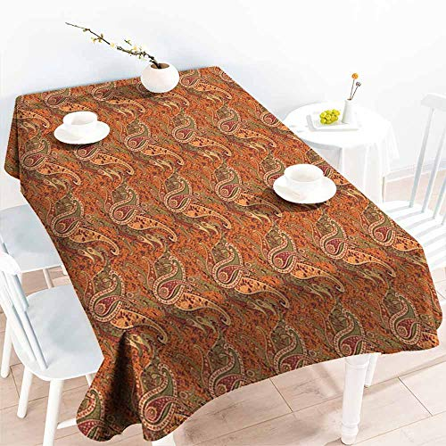 Orange,Party Table Cloth Traditional Old Fashioned Paisley Pattern Floral Design with Leaves 60