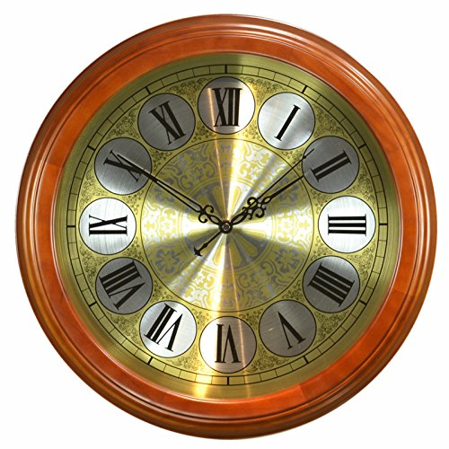 StylishSolid Wood European Mute Wall Clock Living Room American Retro Wooden Clock Fashion Chinese Style Bedroom Hanging Table, 16 inches (Diameter 40.5 cm), Chestnut Color-[C Metal] Clock face