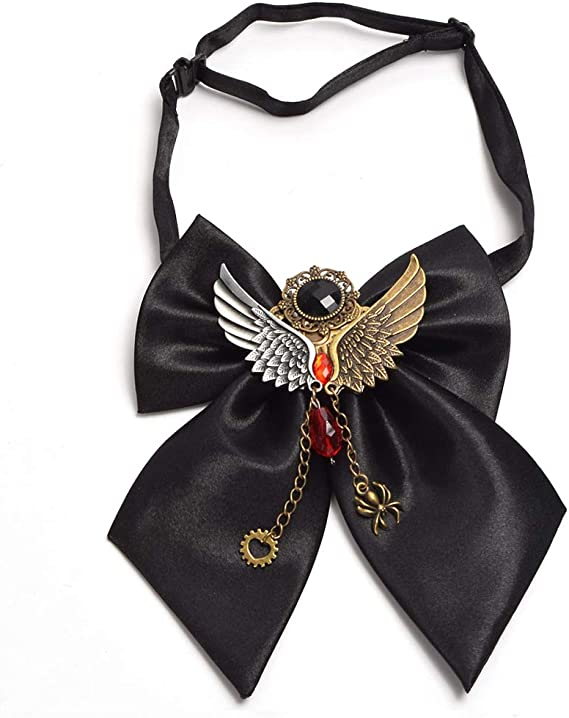 Vintage Victorian Steampunk Gear Chain Bowtie Black Gothic Halloween Party Tie