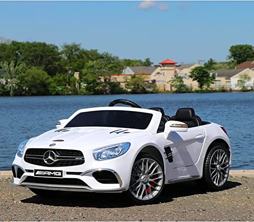 First Drive Mercedes Benz SL Kids Electric 2 Seater Ride On Toy Sports Car for Kids Ages 3-6 Years with Remote Control Headlights, and Aux Cord, White