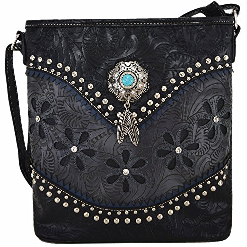 Western Style Tooled Leather Cross Body Handbags Concealed Carry Purse Women Country Single Shoulder Bag (Black) -