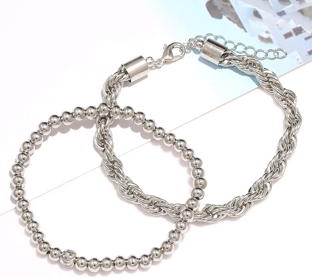 Chunky Link Chain Bracelets for Women Girls Stackable Brass Bead Stretch Bracelet Dainty Open Cuff Bracelets Layered Bracelet Bangles Set Birthday Party Gift