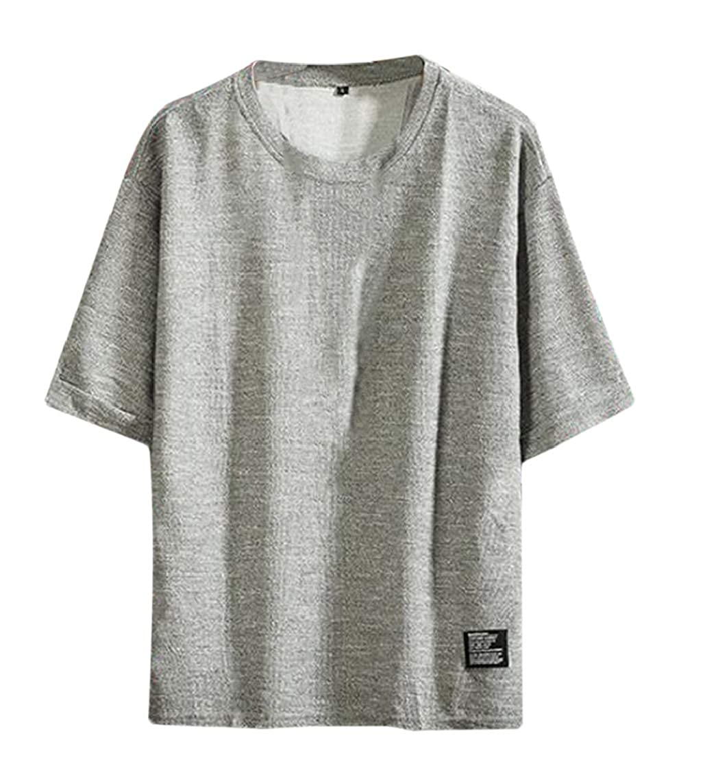 YUELANDE Men O Neck Summer Loose 1//2 Sleeve Simple Over Size Tee T-Shirt