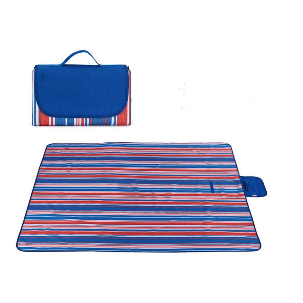 labellevieピクニックマットストライプHandy Mat withストラップカビ防止、防水のピクニック、ビーチ、外出、折りたたみ式、持ち運び簡単79