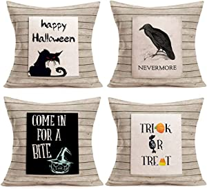 """Smilyard Throw Pillow Covers Happy Halloween Black Cat Crow Pumpkin Decorative Throw Pillow Cover Cotton Linen Wood Background Outdoor Decor Pillow Case Cushion Cover 18""""x18"""" Set of 4(Wood-B-Cat 4PS)"""