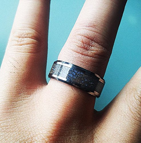 Actual Blue and Gray Dinosaur Bone Inlay Ring - 8mm - Lifetime Size Exchanges by TRIFORCE RINGS