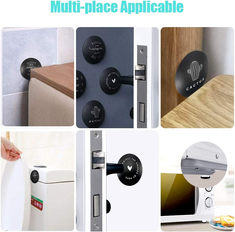 Guard and Shield,Black Wall Protectors with Self Adhesive 3M Sticker Prevent Damage to Walls from Door Knobs Handles PAKESI Rubber Door Stopper Bumpers,4 PCS 1.96 Inch Door Stopper Wall