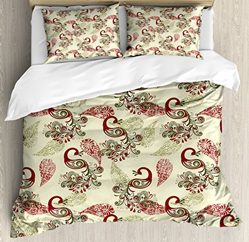 (Ambesonne Peacock Decor Duvet Cover Set Queen Size, Winter Pattern with Stylized Peacocks and Snowflakes Floral Paisley Ornamental, Decorative 3 Piece Bedding Set with 2 Pillow Shams, Green Claret Red )