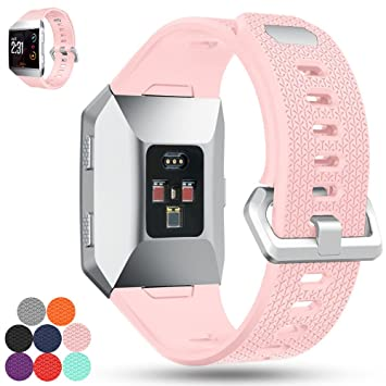 Correa de repuesto para Fitbit Ionic iFeeker, correa de silicona suave, correa de silicona para reloj inteligente Fitbit Ionic, color rosa: Amazon.es: ...