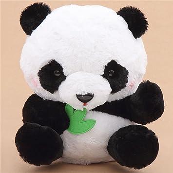 Gran peluche panda blanco negro con hojas verdes muñeco con ruido de Japón