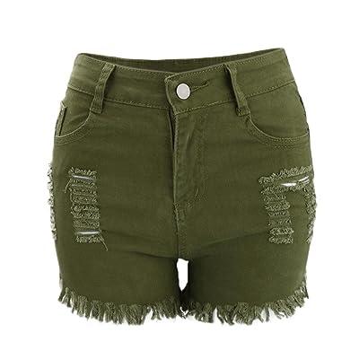 ALIKEEY Mode Femmes D'été Taille Haute Denim Jeans Pantalon de Plage Hot Shorts Jeans Short en denim à taille haute en soie élastique pour femmes