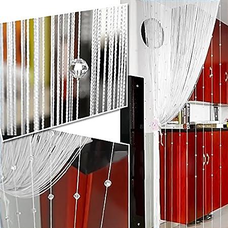 Gosear Decoracion Cortinas Flecos de Cuentas, Imitación Cristal Borla de la Cortina Hilos de Secuencia de Cuentas para Puerta Exterior Casa Decor Divisor biombos separadores (1 x 2M, Blanco): Amazon.es: Jardín