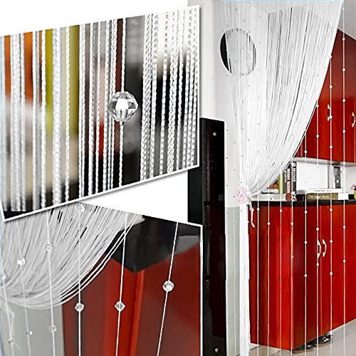 Kangkang@ Crystal Glass Beaded Tassel String Curtains Door Window Home Decor Sheer Curtain For Living Room Divider Rideaux Pour Le Salon (white) by Kangkang
