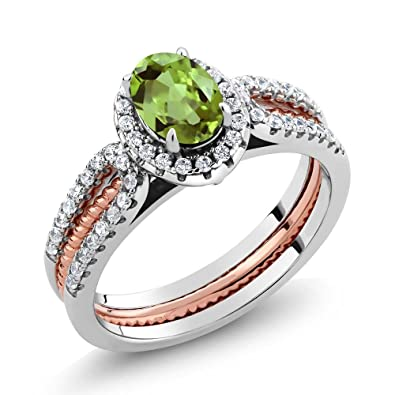 1 42 Ct Oval Green Peridot 925 Two Tone Sterling Silver Wedding Band