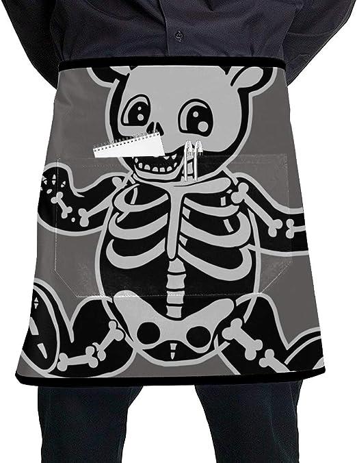 Yushg Delantal de Cocina Cintura Anime Oso de Peluche Esqueleto ...