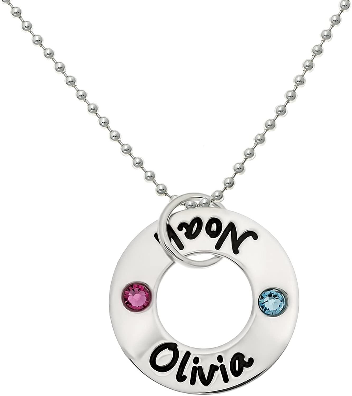 Your Choice Of 925 Chain Wife Grandmother Square Lucky Two Sterling Silver Personalized Necklace Comes with 2 Customizable Charms and a Sterling Silver Heart Charm Gifts for Her Mother