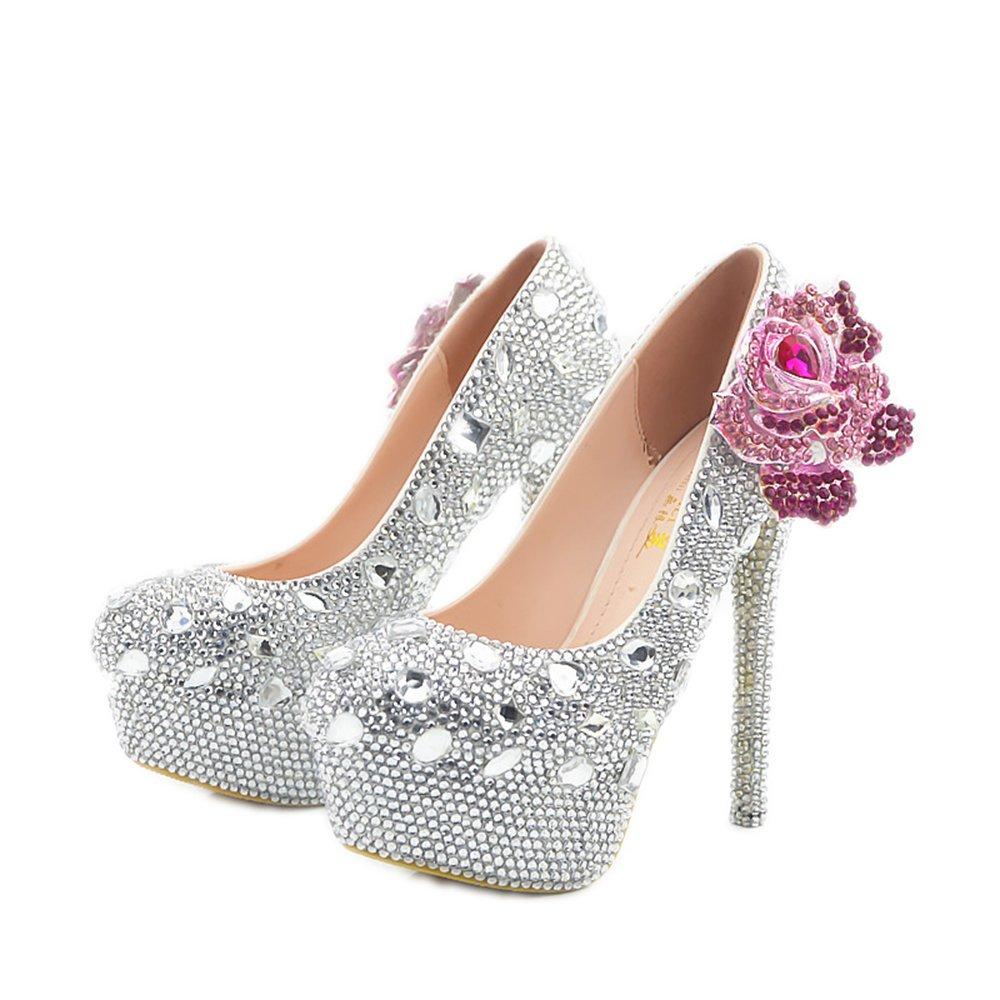 Lacitena Slip Tobillo de Plataforma de tacón Alto con Punta en Punta de Mujer en Las bombaNuevos Zapatos de tacón Alto de Diamantes de Moda Zapatos de tacón Alto de tacón Salvaje 36 EU|Azul
